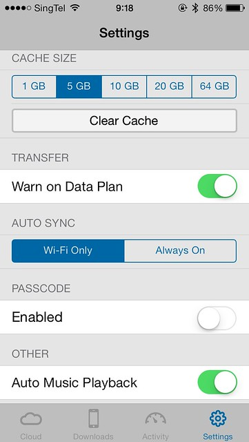 WD My Cloud iOS App - Settings