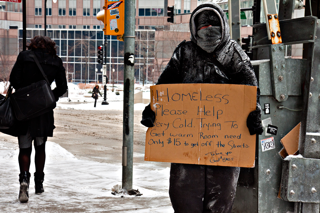 Man-begging-near-Union-Station-on-2-17-14--Chicago