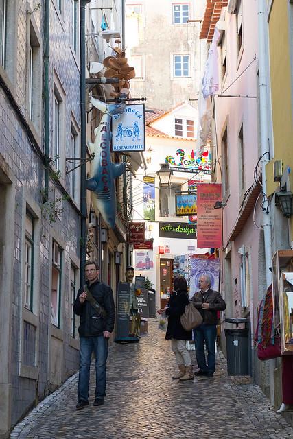 An alley of restaurants, Sintra, Portugal.