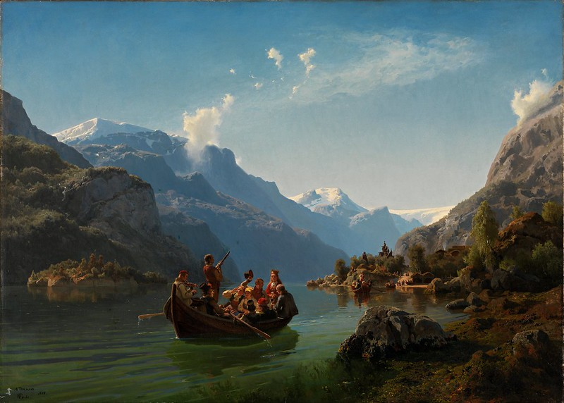 Adolph Tidemand & Hans Gude - Bridal Procession on the Hardangerfjord (1848)