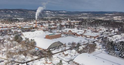 winter buildings campus aerial dartmouth