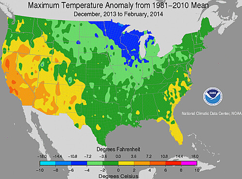 December 2013 to February 2014 Temperature Anomalies USA