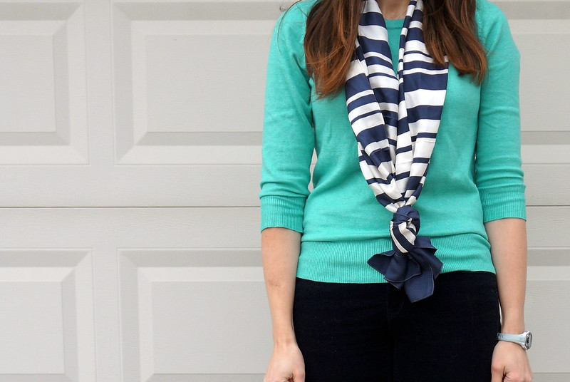 Target sweater and stripe scarf