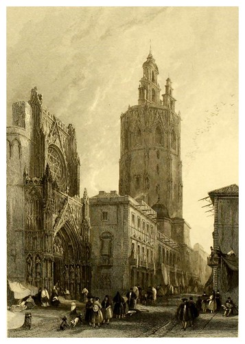 003-Plaza de la catedral de Valencia-Picturesque views in Spain and Morocco…Tomo II-1838-David Roberts