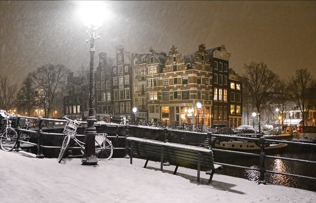 Snow flakes falling in the heart of Amsterdam