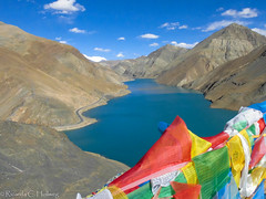 Tibet lake with prayer flags