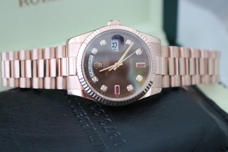 bán đồng hồ rolex day date 6 số 118235 – mặt ruby xoàn – vàng hồng rose – size 36
