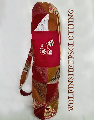 Yoga Mat Bag Embroidered Patchwork Floral Design