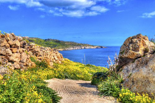 canon eos 70d digital color colorful nice malta sea sky blue green bay rock mountain gozo island weather spring field flowers view hdr meadow