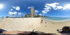 The Duke Kahanamoku Beach in Waikiki - a 360 degree Equirectangular VR