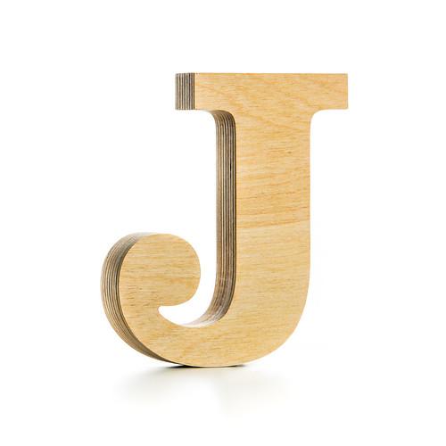 J wooden letter birch
