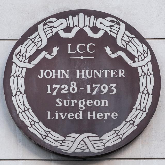 John Hunter brown plaque - John Hunter 1728-1793 surgeon lived here