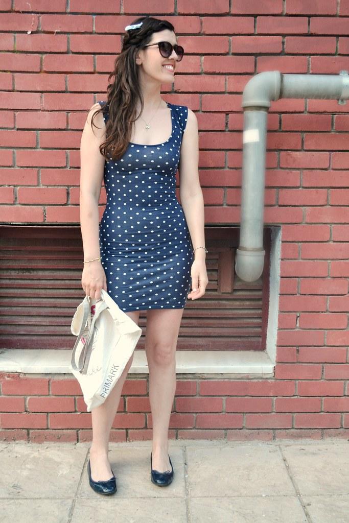 blue polka dots summer dress