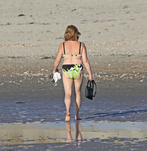 West Wittering - Sept 2012 - Mature Woman Walking on the Beach Candid
