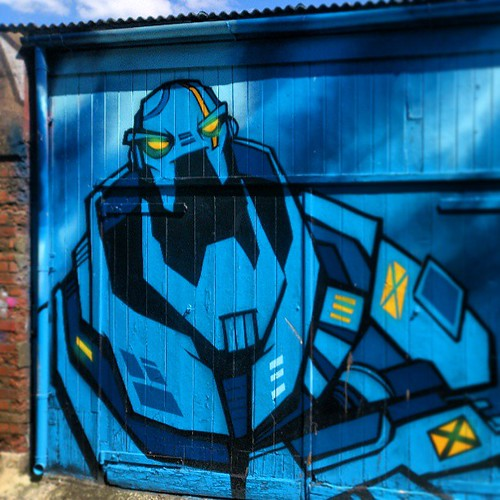 Big blue robot, also Trafalgar Lane