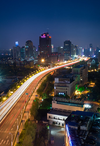 Changning District skyline along Yan'an Elevated Road as viewed from Gubei.