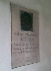 Photo of Harriet Martineau stone plaque