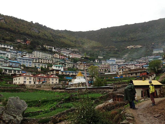 arriving at Namche Bazaar