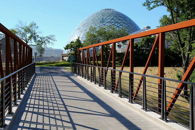 The bridge to Mitchell Park and The Domes