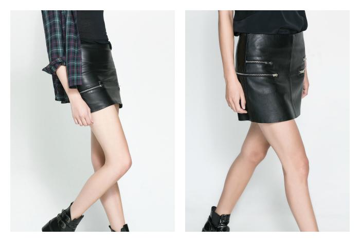 falda negra cremalleras