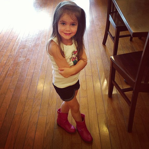 This is apparently not my daughter, but my pet baby tiger. At least she's a baby tiger who can rock some boots.
