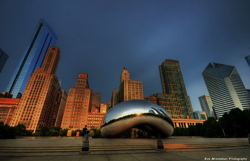 chicago sunrise theloop cloudgate thebean hdr daybreak rexmontalbanphotography