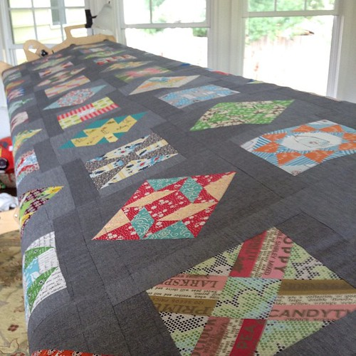 My Farmer's Wife quilt is all stretched out and ready for thread basting!