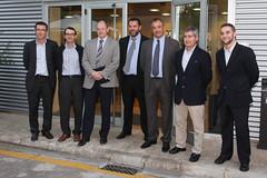 Els socis de Quopiam i d'Ona Capital en una foto de grup, junt amb el president del Consell Comarcal d'Osona, Joan Roca.  Crèdit: Miquel Rovira.
