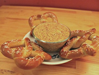 Pretzels and German Beer Spicy Mustard