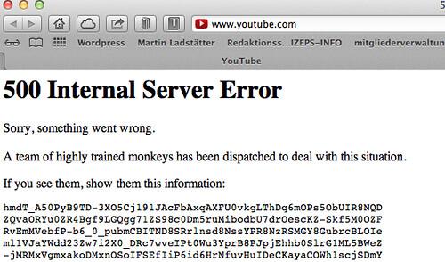 Schräge Fehlermeldung von Youtube