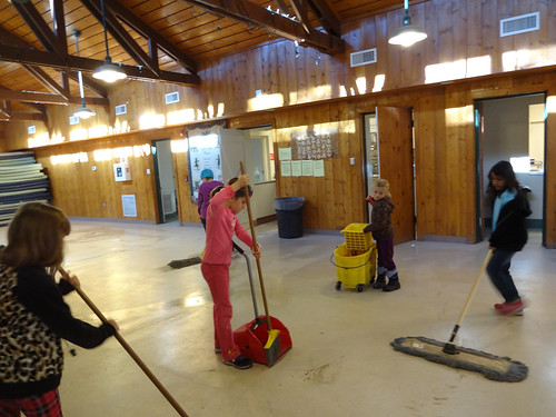 Mimi cleaning the lodge