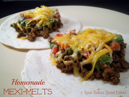 Homemade Mexi-Melts on tortillas close up.