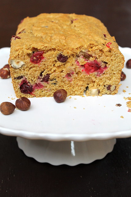 Vegan Cranberry Hazelnut Quick Bread
