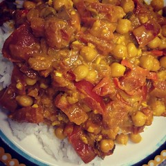 stew(0.0), curry(0.0), produce(0.0), baked beans(0.0), vegetable(1.0), chana masala(1.0), kung pao chicken(1.0), meat(1.0), food(1.0), dish(1.0), cuisine(1.0),