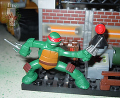 Nickelodeon TEENAGE MUTANT NINJA TURTLES :: MINI TURTLE FIGURE 4-PACK x // .. Mini RAPH on '03 TMNT MEGA BLOKS  (( 2014 ))