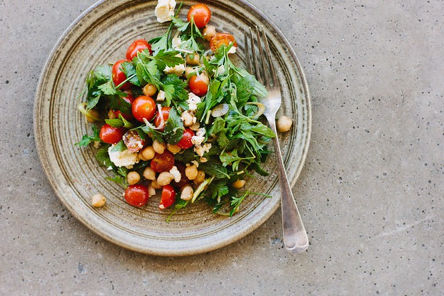 chickpea, tomato + feta salad with pomegranate molasses dressing
