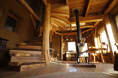 Timber Frame House: Spiral Stairs