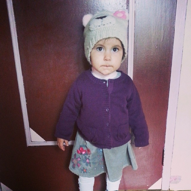 ♥ look of the day for my baby ♥ bonnet #claires gilet #petitbateau robe #sucredorge