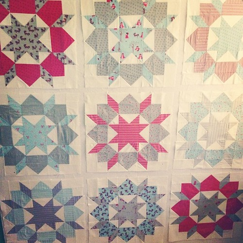 All the Swoon blocks. Sashing can wait until Sunday!! Tomorrow is the grand opening at Kim Bradley Creations...I'll be there with bells on!