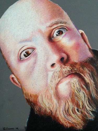 Colored pencil portrait entitled Self Portrait XII