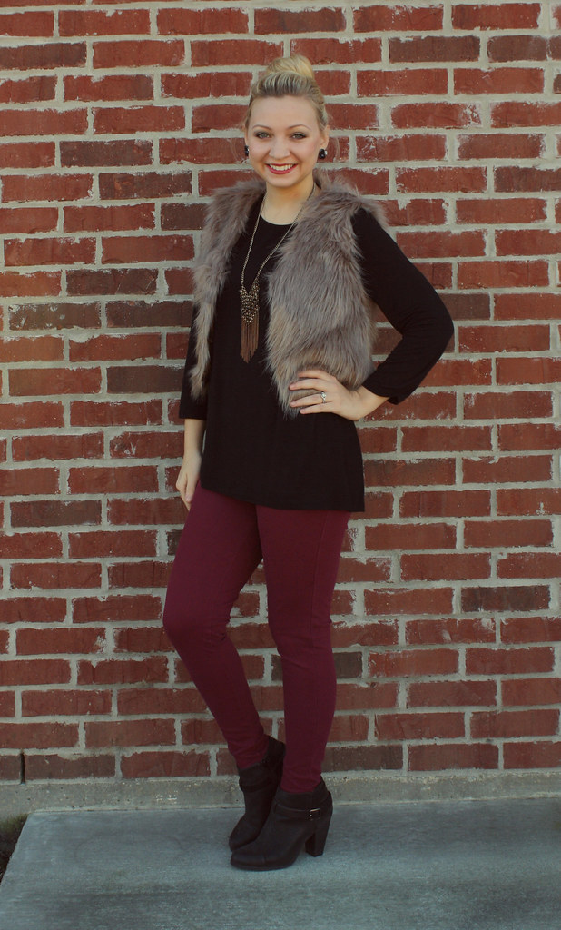 IMG_9032, maroon pants, lauren conrad booties, faux fur, fur vest