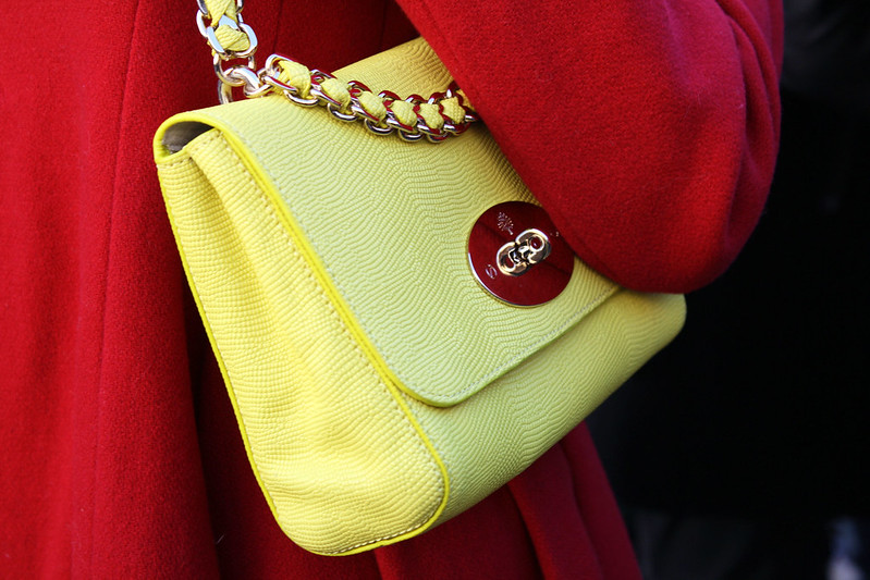 Yellow Mulberry Handbag. London Fashion Week AW 14