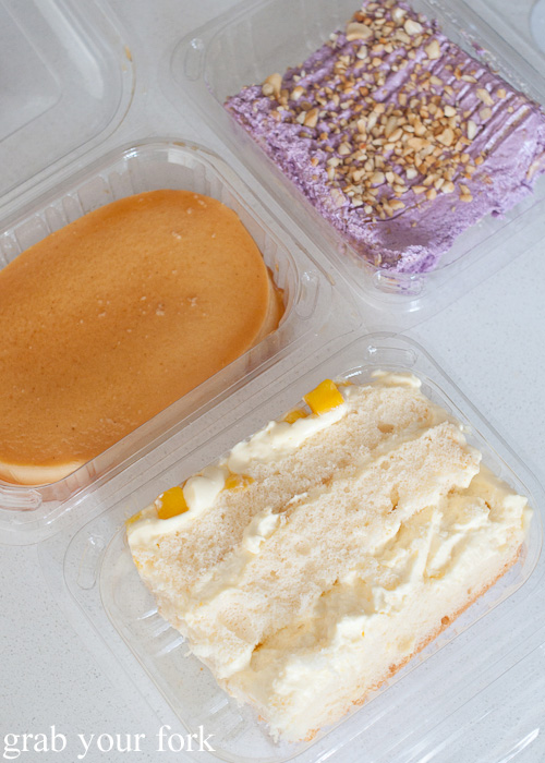 Leche flan, sans rival ube and mango cake at Pandesal Bakehouse, Beverly Hills