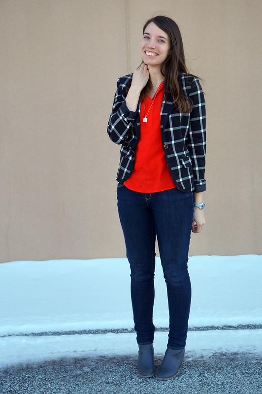 black and white Merona blazer and red shirt