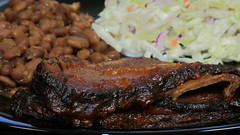 BBQ beef brisket with baked beans and coleslaw