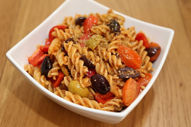 Dukkah and olive pasta
