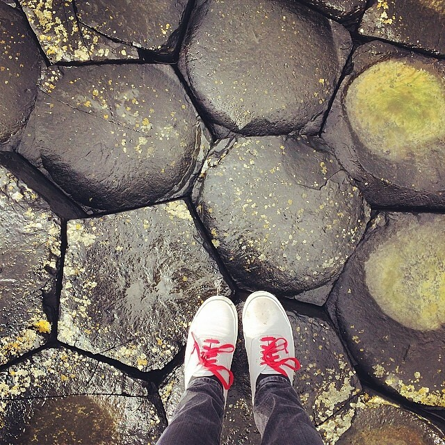 On the Giant's Causeway. Note Vans may not be the most appropriate shoes on a windy wet day like today.