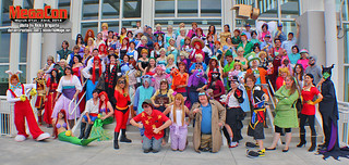Disney cosplay meet-up group photo at MegaCon 2014