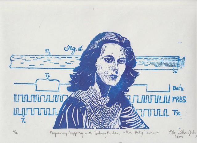 Hedy Lamarr linocut