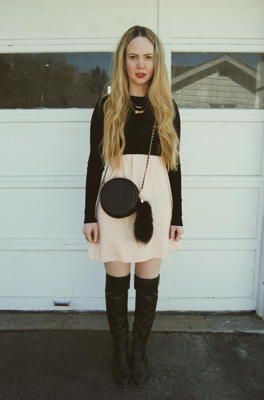 Zara_Crop_Top_Blush_Pink_Dress_Shoemint_Boots_NastyGal_Bag